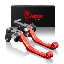 MZS Pivot Levers Brake Clutch Foldable CNC Compatible with Honda CRF150F CRF 150F 2003-2018 | CRF230F CRF 230F 2003-2018 | CRF250F 250F 2019-2020 (Red)