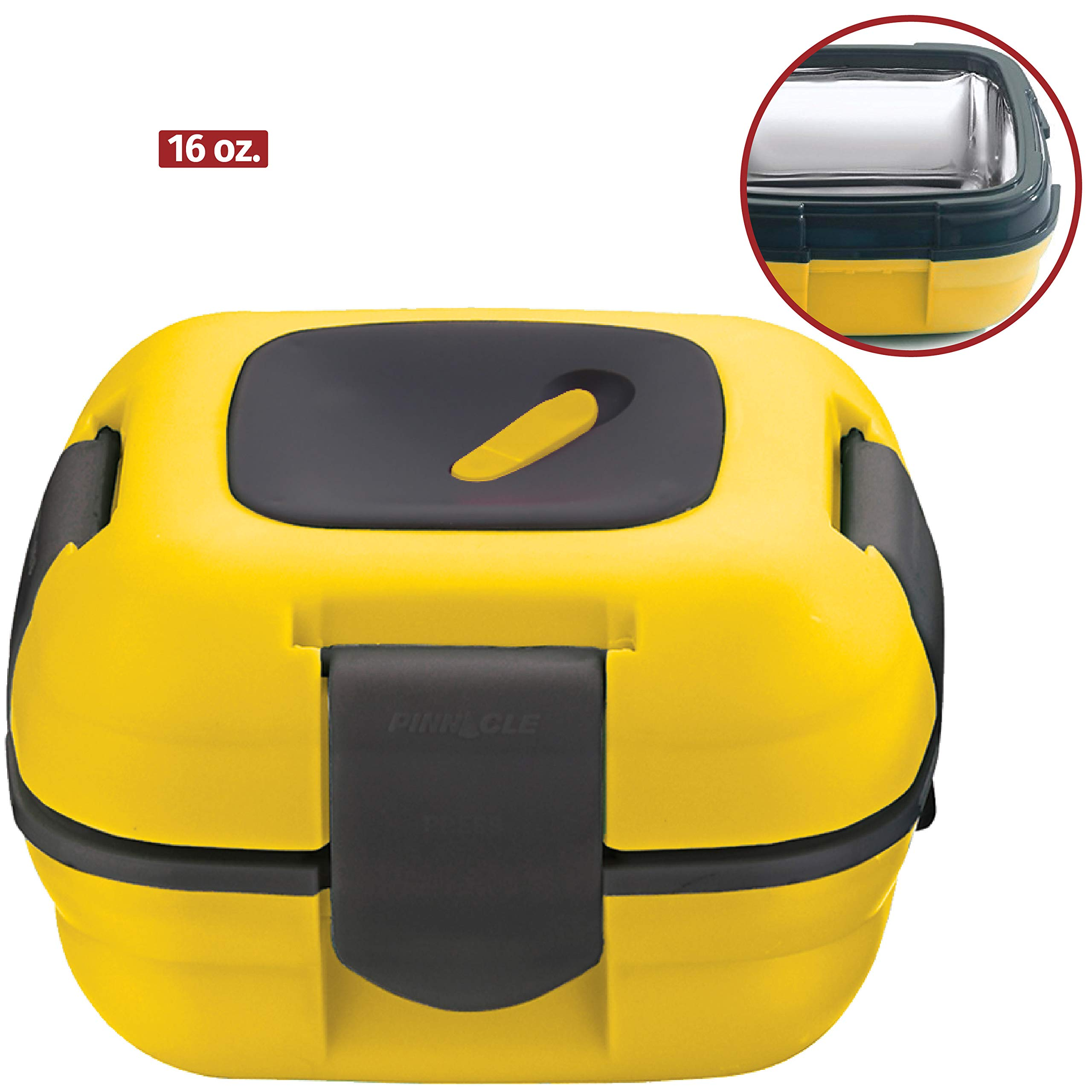 Lunch Box ~ Pinnacle Insulated Leak Proof Lunch Box for Adults and Kids - Thermal Lunch Container With NEW Heat Release Valve, 16 oz (Yellow)