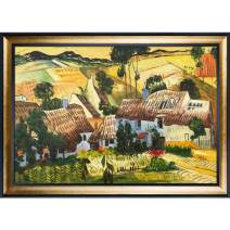 """La Pastiche OverstockArt Thatched Houses Against a Hill by Van Gogh Hand Painted Oil on Canvas with Gold Luminoso and Black Combo Frames, 41.5"""" x 29.5"""", Multi-Color"""