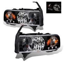 SPPC Black Crystal Headlight LED 1pc Assembly Set For Dodge Ram - (Pair) Driver Left and Passenger Right Side Replacement Headlamp