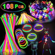 AMENON Party Supplies Glow In The Dark-108 Glow Sticks Bulk LED Light Up Toys Kids Adult July 4th Party Favors Decorations with 100 Glow Stick Necklaces Bracelets/8 Led Flower Crown