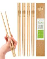 YUNDUOJIA 5 Pairs Bamboo Chopsticks Reusable Japanese Style Chopstick , classic healthy Natural Bamboo Chop Sticks , 9.8Inch/25cm (pattern: more than every year)