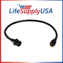 LifeSupplyUSA 10 Feet 4-Prong L14-30P / L14-30R 30 Amp Generator Extension Cord 10AWG4 125/250V STW Hook and Loop Strap UL Approved 10ft