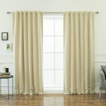 "Best Home Fashion Premium Thermal Insulated Blackout Curtains - Back Tab/Rod Pocket - Beige - 52"" W x 108"" L - Tie Backs Included (Set of 2 Panels)"