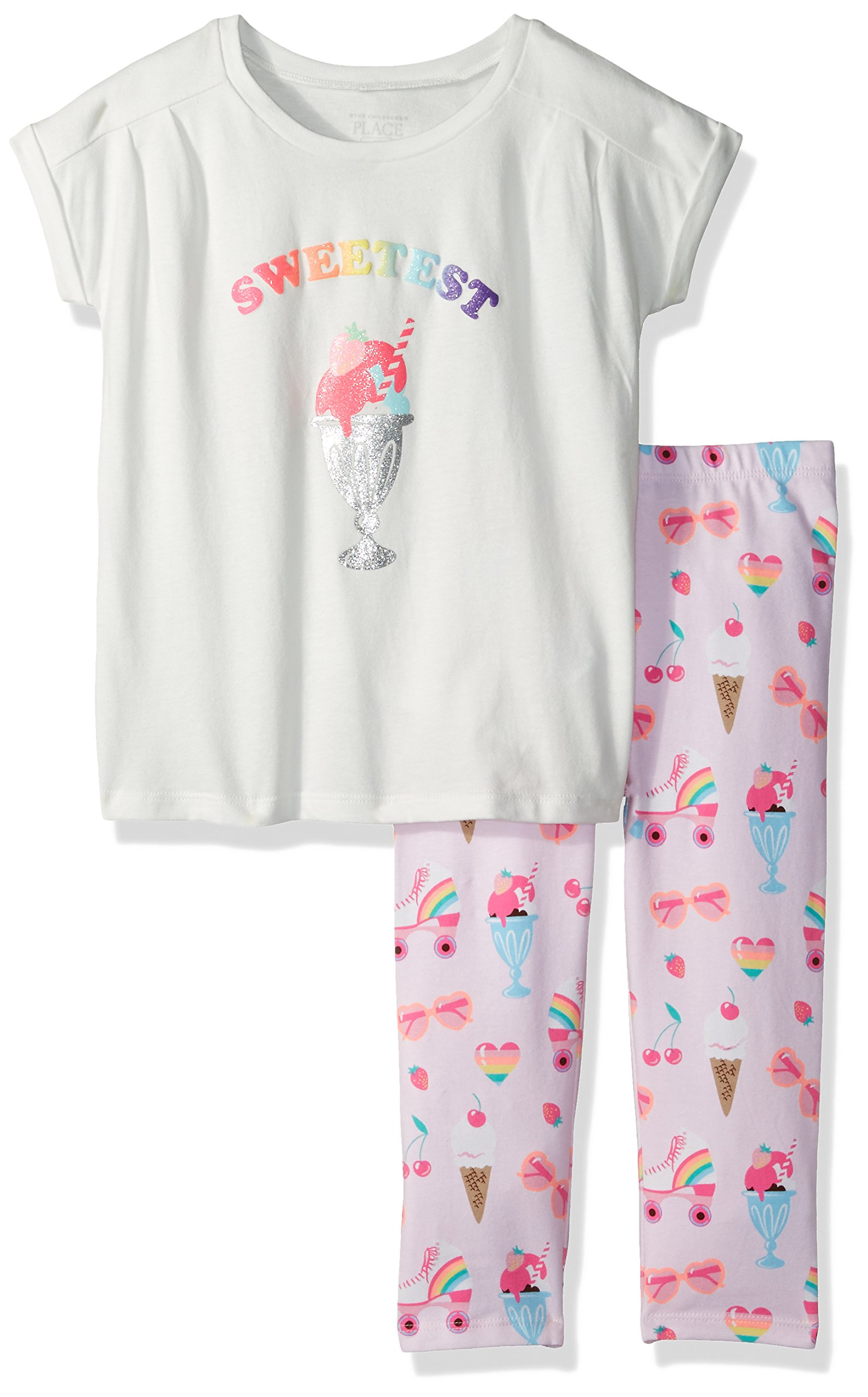 The Children's Place Baby Girls' Short Sleeve Top and Leggings Set
