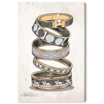 """The Oliver Gal Artist Co. Fashion and Glam Wall Art Canvas Prints 'Arm Candy Noir' Home Décor, 16"""" x 24"""", Gray, Gold"""