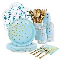 """Blue and Gold Party Supplies Set - 168PCS Blue Paper Plates Disposable Dinnerware Set Dots 7"""" & 9"""" Paper Plates Napkins Cups Forks Knives Balloons Serve 24 Birthday Party Wedding Baby Shower"""