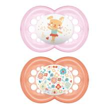 MAM Pearl Pacifier (2 pack, 1 Sterilizing Pacifier Case), Pacifiers 6 Plus Months, Baby Girl Pacifier, Best Pacifiers for Breastfed Babies, Sterilizing Storage Case