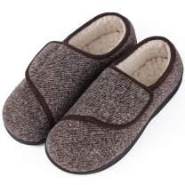 LongBay Men's Memory Foam Diabetic Slippers Comfy Warm Plush Fleece Arthritis Edema Swollen House Shoes