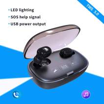 Bluetooth 5.0 Earbuds with 2000mAh Power Bank Box LED Flashlight SOS Light - LarKoo Wireless Headphones Bluetooth V5 Headset Earphones with Charging Case Next/Prior Song for iOS/Android Phones