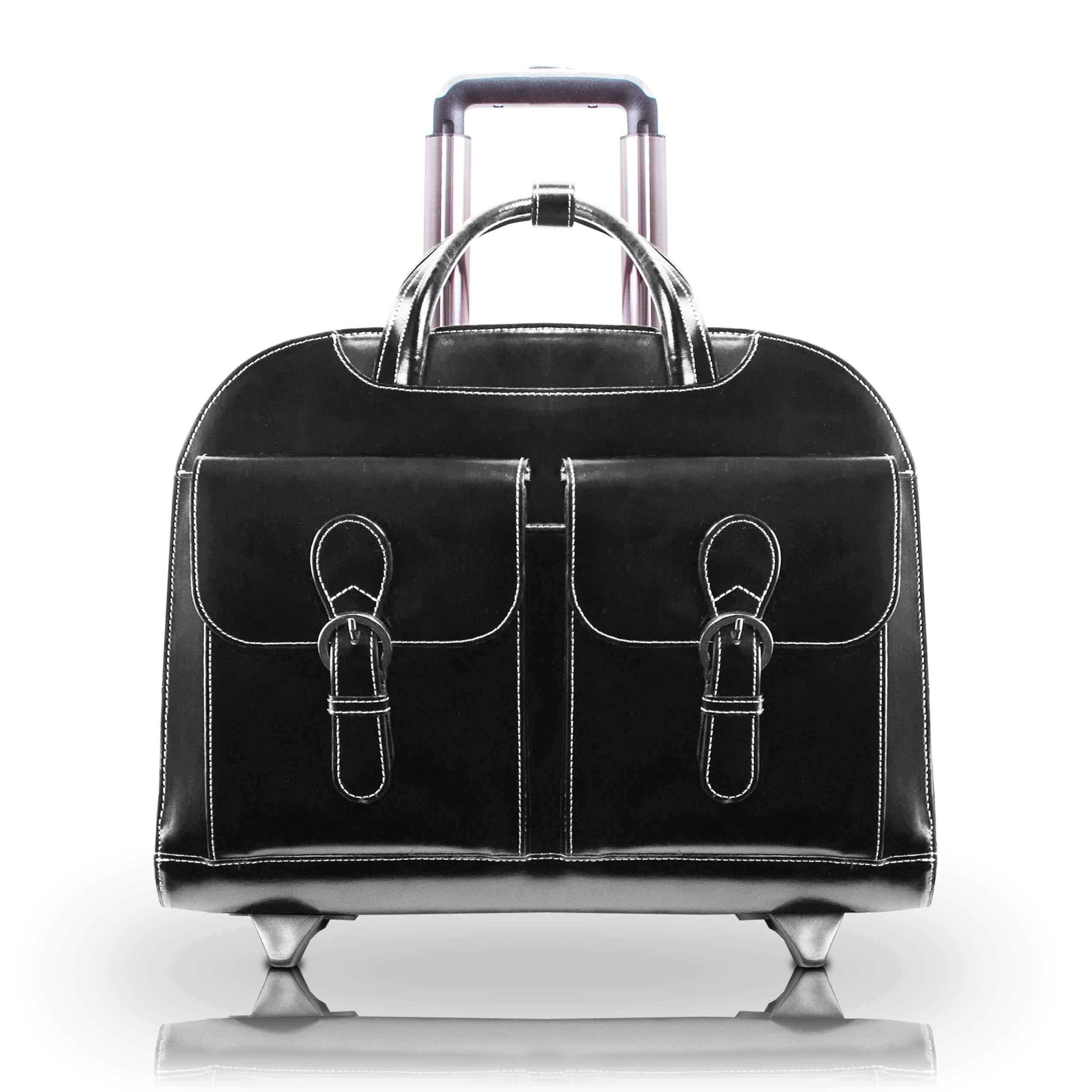 "McKlein USA Davis Leather 15.4"" Wheeled Ladies' Laptop Case"