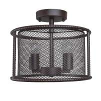 LNC A02976 Wire Cage 2 Vintage Semi Flush Mount Ceiling Light for Bedroom, Living, Dining Room