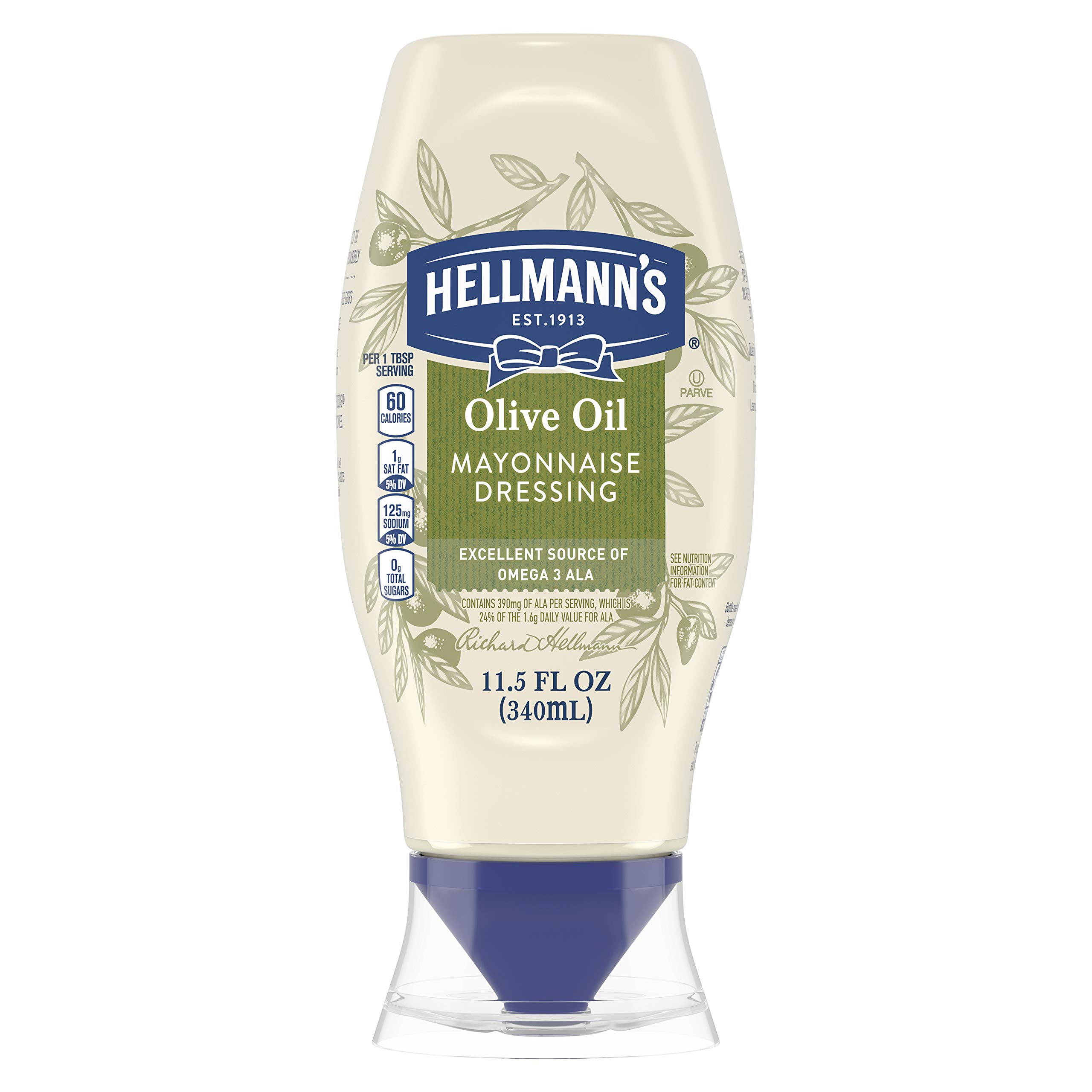 Hellmann's Mayonnaise Dressing for Delicious Sandwiches with Olive Oil Squeeze Mayo Rich in Omega 3-ALA 11.5 oz