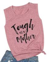 Tough As A Mother Tank Mom Tank Top for Women with Sayings Letters Print Casual Sleeveless Vest Shirts Tee