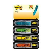 Post-it Message Flags, Sign and Date, 30/Dispenser, 4 Dispensers/Pack.47 in Wide, Assorted Colors (684-SD)