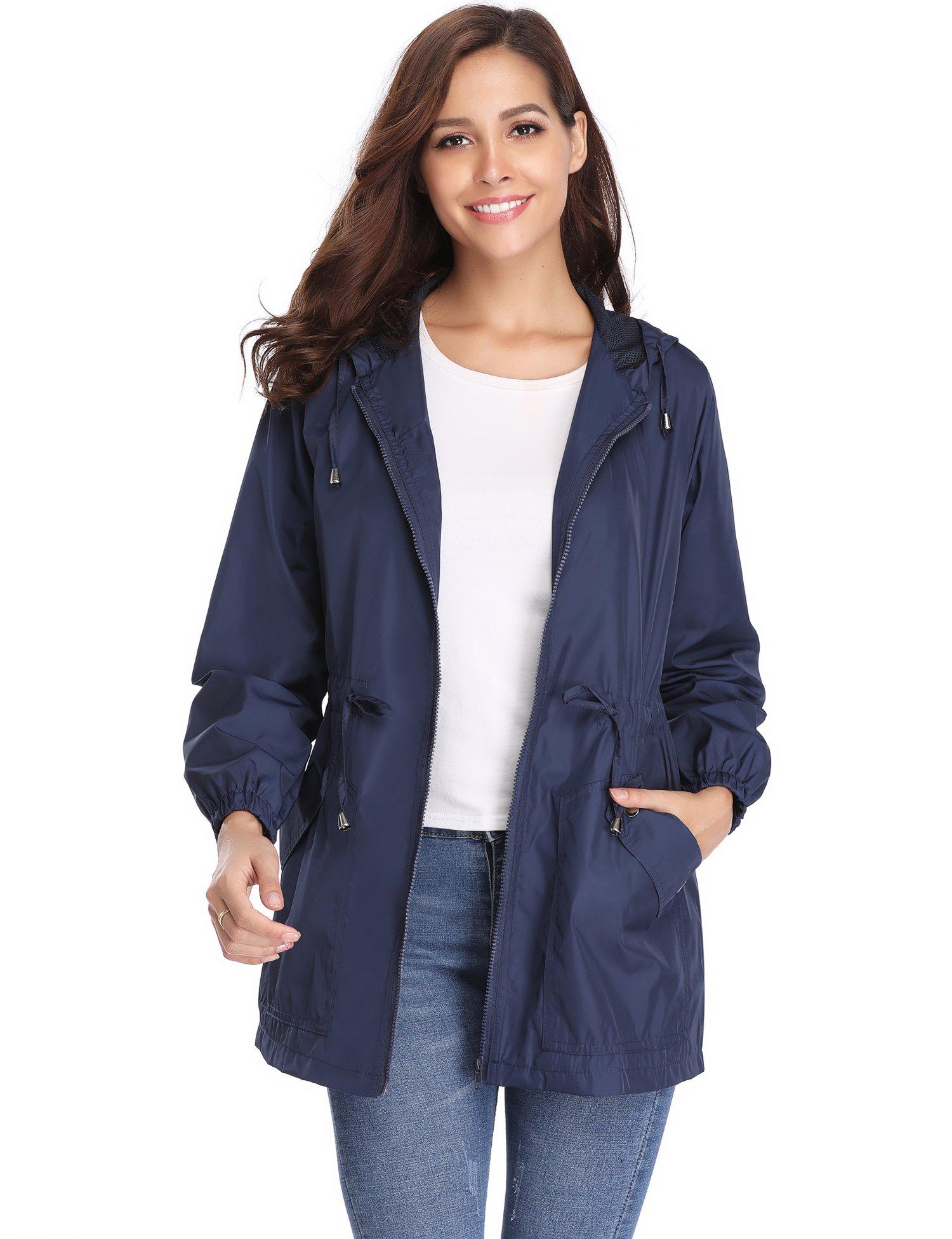 iClosam Women Waterproof Lightweight Hooded Raincoat Active Outdoor Rain Jacket