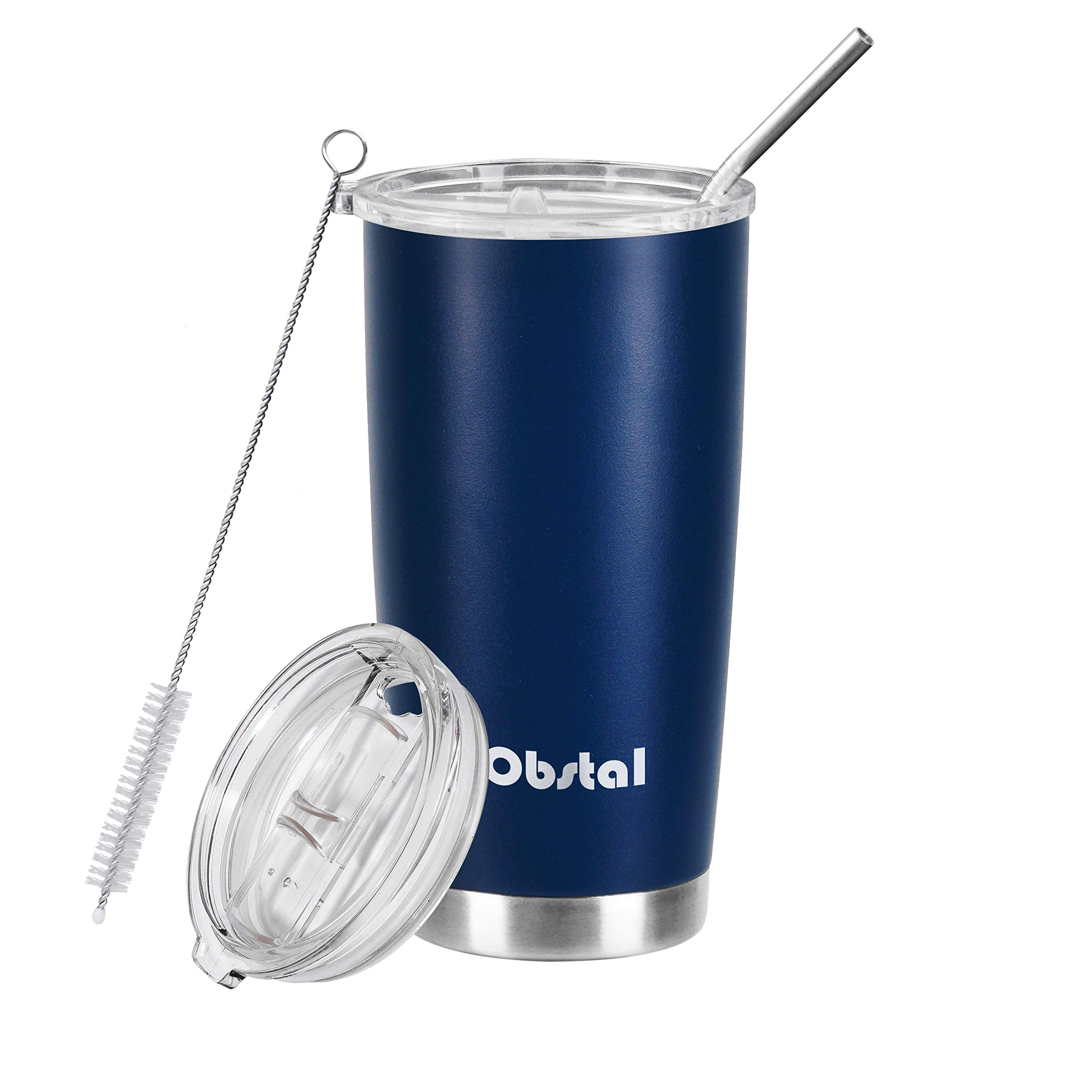 Obstal 20 oz Insulated Coffee Tumbler Stainless Steel Double Wall Vacuum with Stainless Straw, 2 Clear Lids & Cleaning Brush for Office and Gift, Navy, Powder Coated