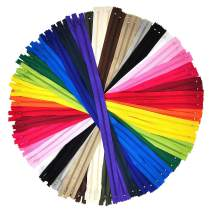Nylon Zippers for Sewing, 12 Inch 80 PCs Bulk Zipper Supplies in 20 Assorted Colors; by Mandala Crafts