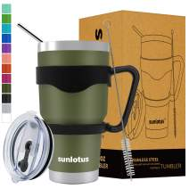 Sunlotus 30 oz Stainless Steel Tumbler Double Wall Vacuum Insulated Travel Coffee Mug,Cup with Splash Proof Lid,Straw,Handle,Straws Brush&Gift Box (30, Army Green)