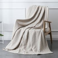 PHF Cotton Waffle Weave Blanket Home Decorations for All Season Cozy Soft Comfort Twin Size Khaki