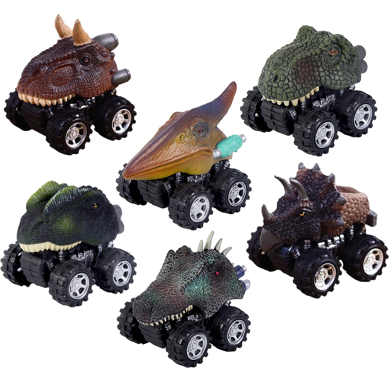 Oiuros Pull Back Dinosaur Cars, Dinosaur Cars Toys with Big Tire Wheel for 3-14 Year Old Boys Girls Creative Gifts, 6-Pack