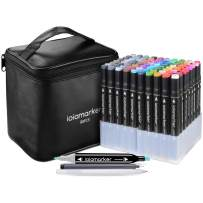 ioiomarker 80 Colors Marker Pen Set Alcohol-Based Dual Tip Permanent Markers with Classic Black Leather Gift Bag for for Draw/Sketch/Illustrate/Profession Design(Universal)