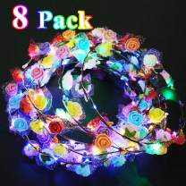 LED Flower Headbands Crowns for Girls and Women Handmade Floral Wreath 10 LED Light Up Flowers Head Wreath Mother's Day Accessories Graduation Party Supplies Wedding Concert Holiday Party Pack 8 Pcs