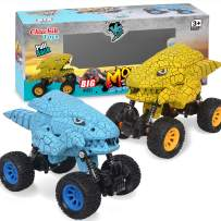 CHUCHIK Dinosaurs Pull Back Car Toy. New Model Dinosaur Toys Vehicles for Kids and Toddlers. Dino Cars are a for Boys and Girls 2 3 4 5 6 Year Old (Yellow-Blue)