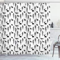 """Ambesonne Forest Shower Curtain, Christmas Spirit Inspired Sketchy Reindeer Pine Trees Rabbits Animal Design, Cloth Fabric Bathroom Decor Set with Hooks, 84"""" Long Extra, White Black"""