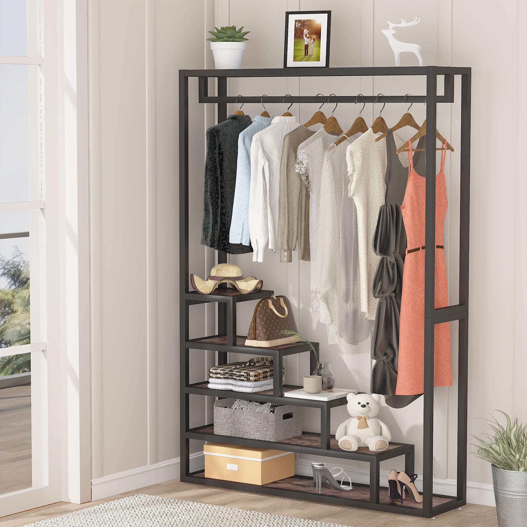 Tribesigns Garment Rack Heavy Duty Clothes Rack, Free-Standing Closet Organizer with 5 Shelves and Hanging Rod, Clothing Storage Rack For Hanging Clothes, Open Storage Organizer Clothing Shelving for Bedroom, livingroom, Rustic Brown