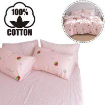 """AOJIM 100% Cotton Printing Pinstripe Fitted Sheet Queen Size 60""""x80""""with 15"""" Deep Pocket Design Patterns Pink/White Stripes Striola Mattress Cover for Kids/Adults"""