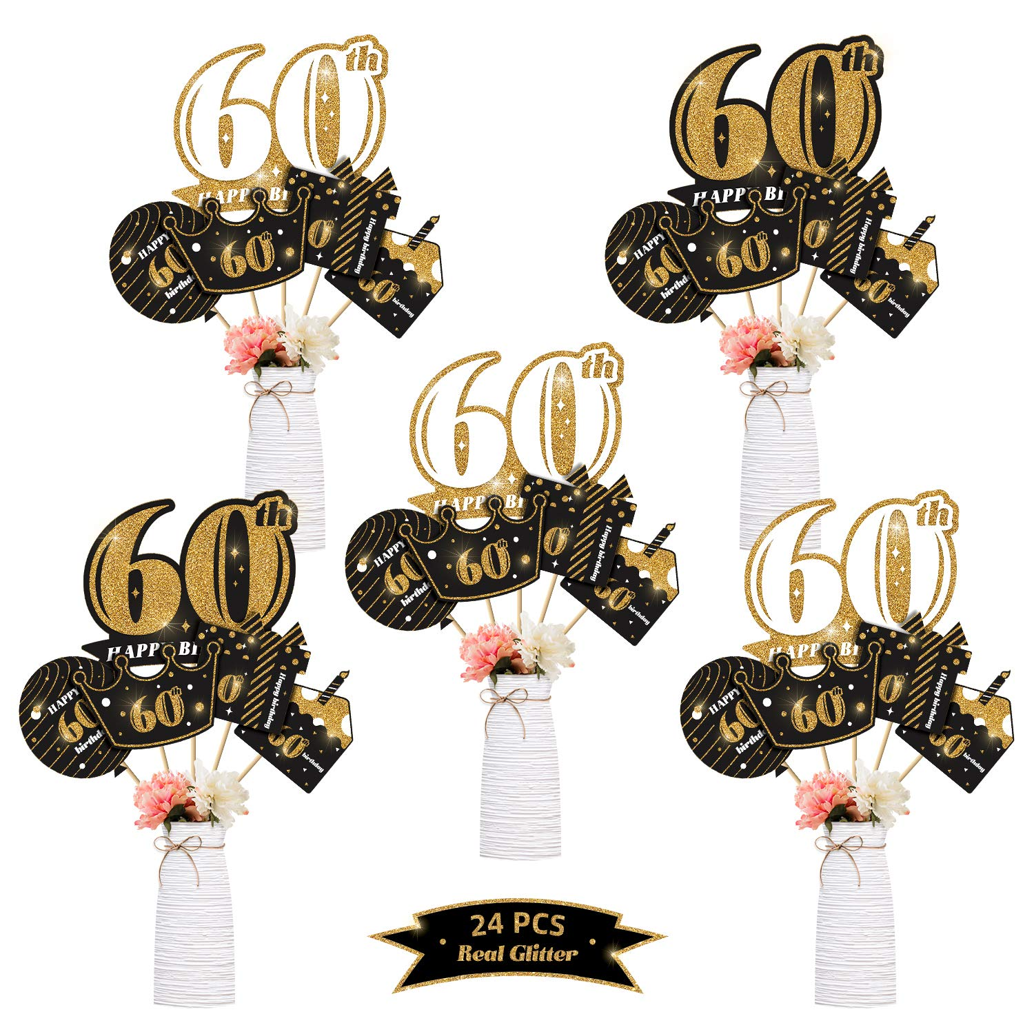 kortes 24Pack 60th Birthday Party Centerpiece Stickers (Real Glitter) Birthday Table Toppers Party Photo Booth Props, 60th Birthday Party Decoration Set