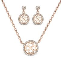 T400 925 Sterling Silver Green Pink Yellow Gold Crystal and Cubic Zirconia Pendant Necklace & Stud Drop Dangling Earrings Jewelry Set Birthday Gift for Women