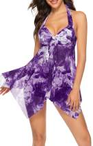YD YONGDONG Two Piece Swimsuits for Women Halter Tankini Bathing Suit with Shorts