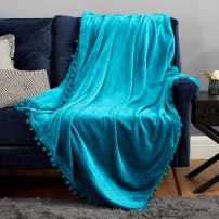 Bedsure Fleece Teal Twin Blanket - Pom Pom Throw Blanket for Couch , Warm Fuzzy Throw Blanket Twin Size - 60x80 , Teal