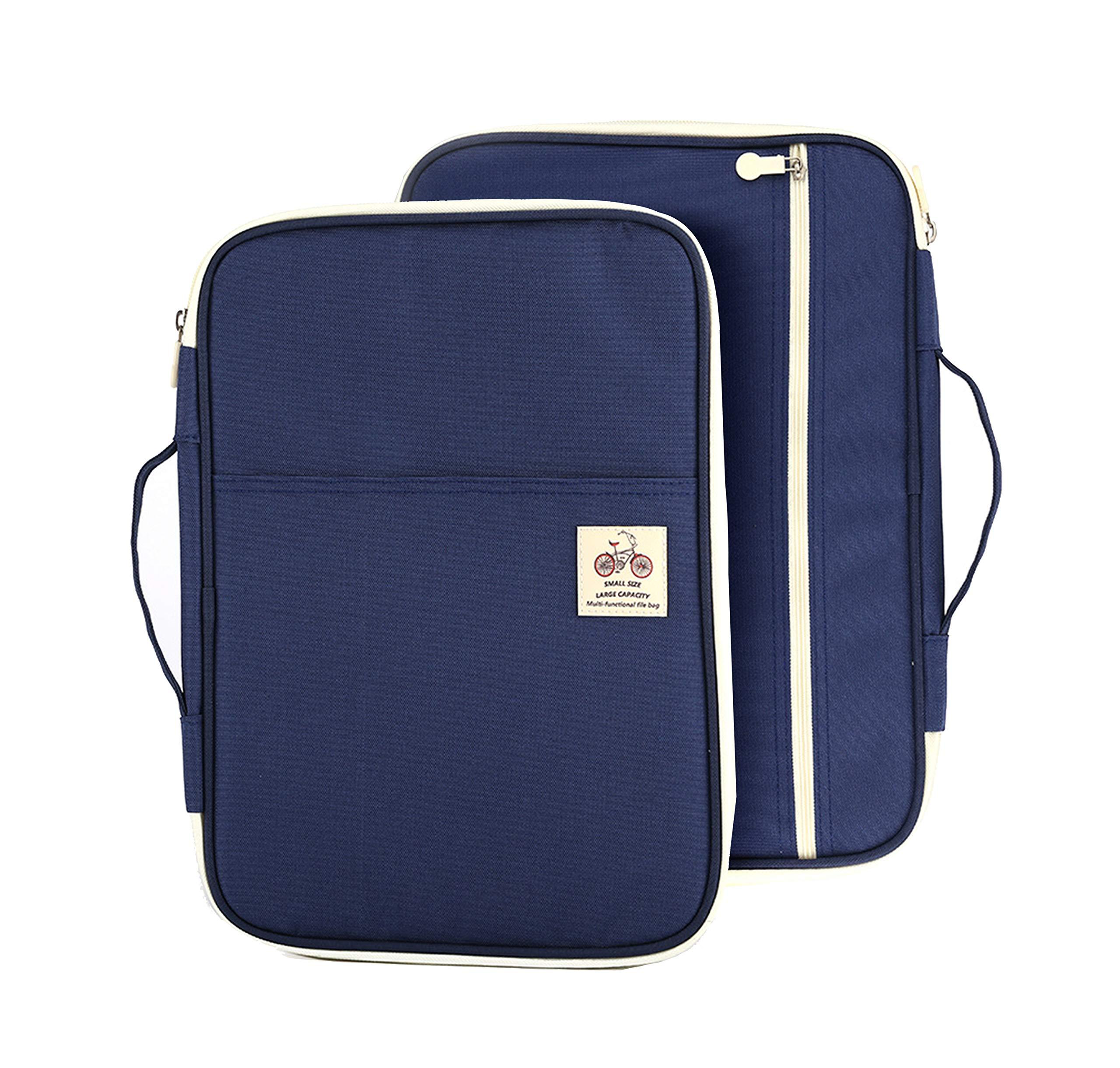 "Lazyaunti Zipper Portfolio Organizer A4 Note Pouch-Waterproof Document Bags/Zipper Binder/Paper Case for 12.5"" Mac,Tablet,Pens,washi Tape,Journals,Sketch Books(Navy Blue)"
