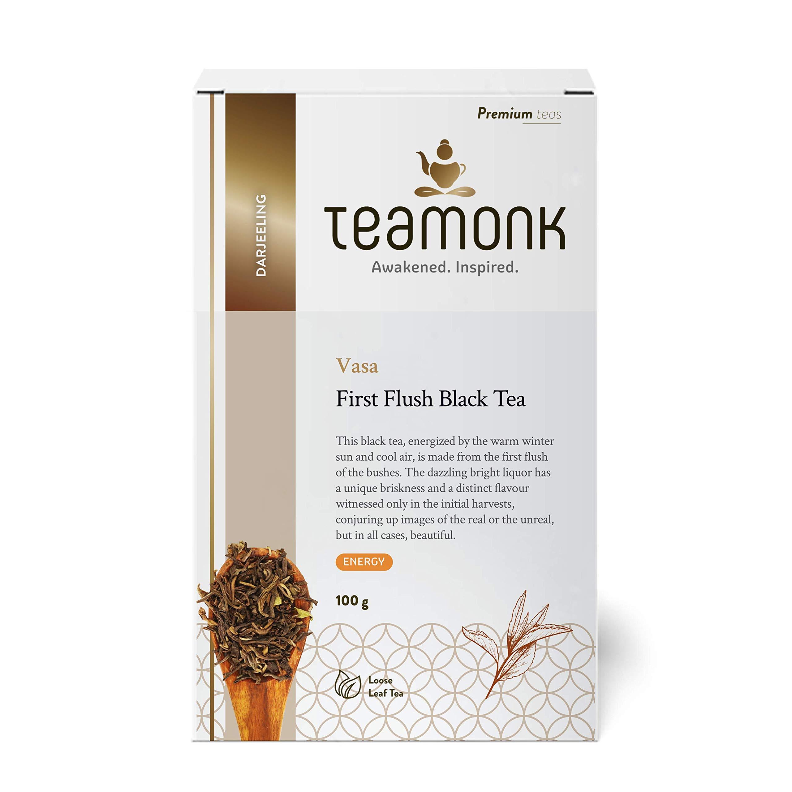 Teamonk Organic Darjeeling Tea First Flush Tea Loose Leaf (50 Cups) | Premium Black Tea Leaves | 100% Natural Tea | No Additives - 3.5oz