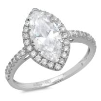 Clara Pucci 2.18 CT Marquise Cut CZ Halo Solitaire Designer Ring Band 14k White Gold