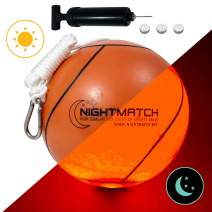 NIGHTMATCH Light Up LED Tetherball - INCL. Ball Pump and Spare Batteries - Official Size - Glow in The Dark Tetherball Toy for The Ultimate Fun in The Dark - Glow Ball LED Ball Gifts