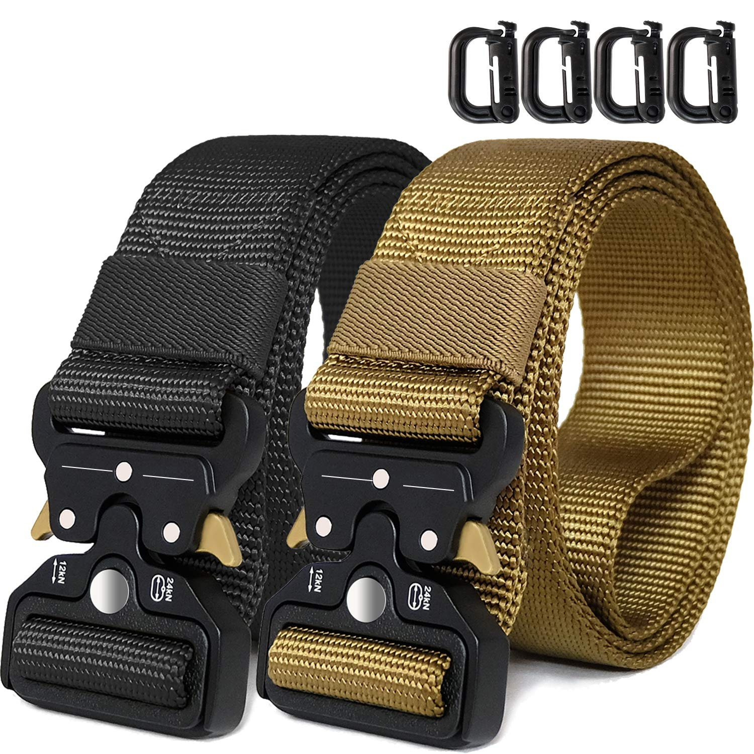 WONDAY Tactical Belt, Heavy Duty Belt 2 Pack 1.5 Inch Adjustable Military Style Nylon Belts with Metal Buckle