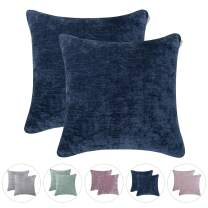 Hahadidi Pack of 2 Cozy Decorative Throw Pillow Cover,No Pillow Insert,Farmhouse Square Pillowcase Luxury Velvet Cushion Case Covers for Car/Bed/Sofa/Couch,Navy,20''x20''(50x50cm)