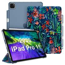 """CaseBot Case for iPad Pro 11"""" 2020 & 2018 with Pencil Holder [Supports 2nd Gen Pencil Charging] - SlimShell Lightweight Stand with Translucent Frosted Back Cover, Auto Wake/Sleep, Jungle Night"""