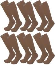 FITDIO Casual Collection 6-Pair Knee High Assorted Graduated 20-30mmHG Compression Socks For Men & Women