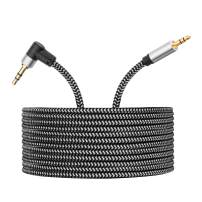 Morelecs Right Angle Aux Cable, 3.5mm Auxiliary Audio Cable 30ft Nylon Braided Male to Male AUX Cord Compatible for Headphones, iPods, iPhones, iPads, Home/Car Stereos and More (Grey)
