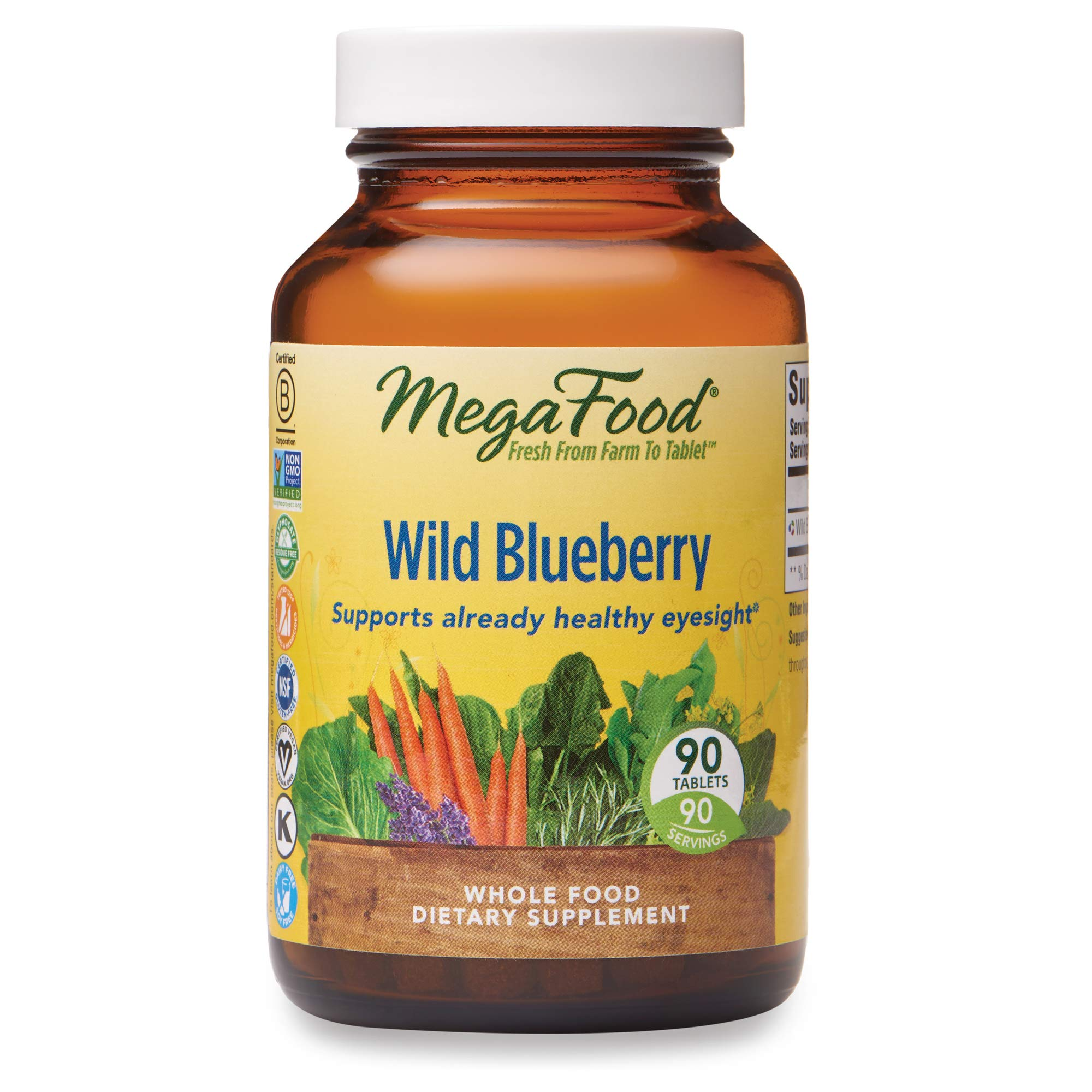 MegaFood, Wild Blueberry, Supports Healthy Eyesight, Chewable Whole Food Supplement, Vegan, 90 Tablets (90 Servings) (FFP)