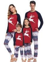 Hawiton Christmas Pajamas Set Matching Family Xmas Deer Sleepwear PJs