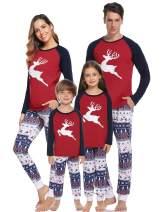 Aibrou Christmas Matching Family Pajamas Sets Santa's Deer Sleepwear for Dad Mom Kids Holiday Pjs Set