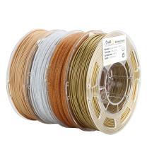 AMOLEN 3D Printer Filament Bundle,PLA Filament 1.75mm Bundle,Wood Filament,Marble PLA,Sparkles Gold,Bronze,3D Printing Filament Bundle,225g X 4 Spools