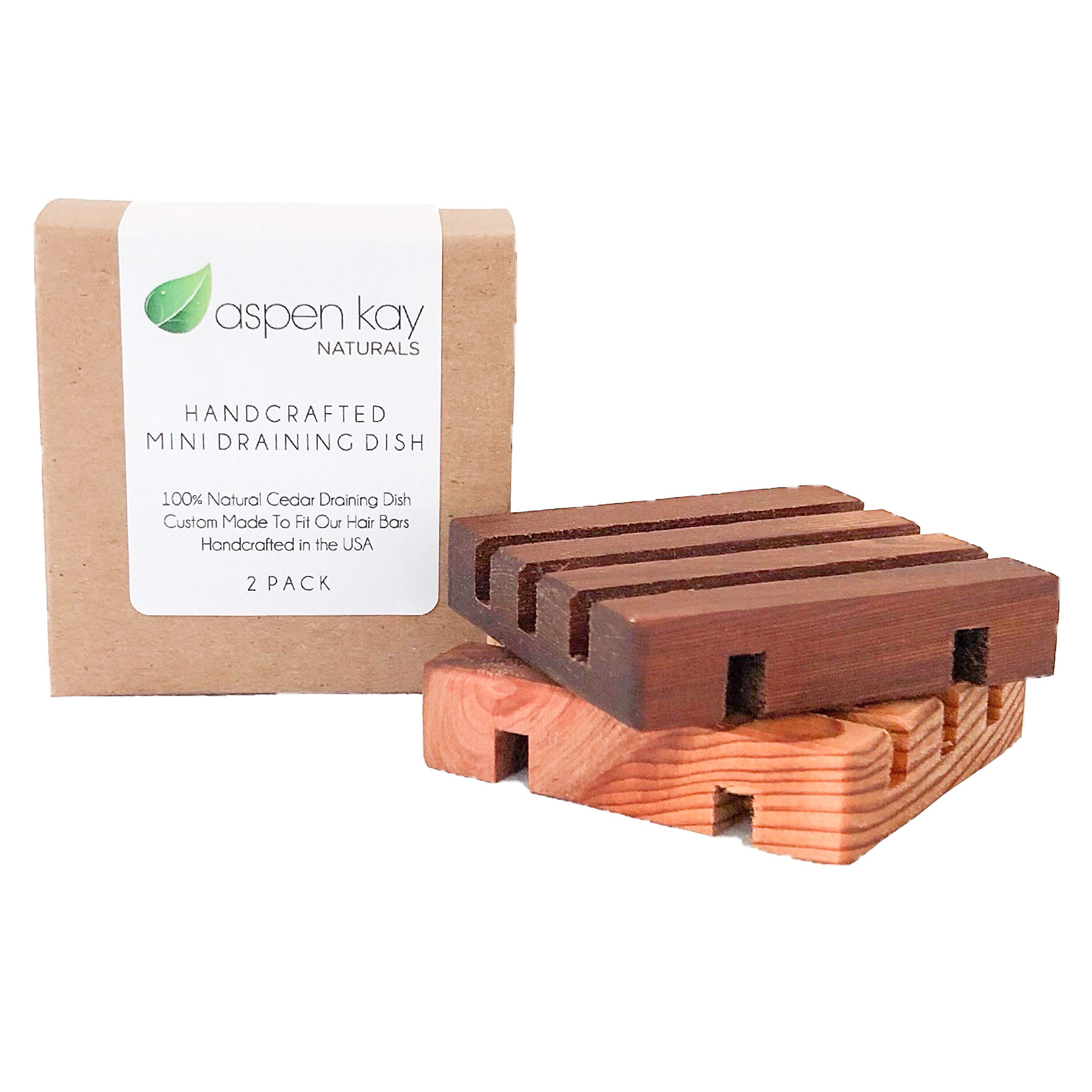 2 Pack Mini Soap Dish, Draining Dish for Our Shampoo Bars & Conditioner Bars, 100% Natural Cedar, No Chemical Varnish, Lacquer or Stain is Used, Custom Made for Our Hair Bars, Handmade in The USA