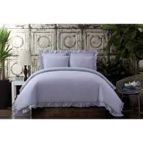 Cottage Classics Washed Cotton Voile Ruffle Full/Queen Comforter Set, Lavender